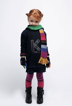 Kenzo Kids winter 2012 Logo dress and rainbow striped scarf for children's fashion