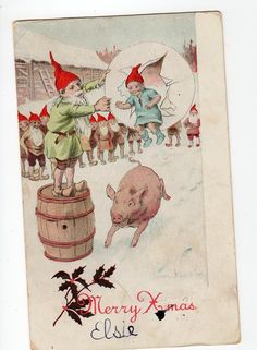 NYSTROM Christmas Pig racing barrel Gnomes by sharonfostervintage, $8.00
