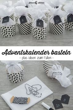 DIY advent calendar tinkering from muffin cases in black and white - pretty, beautiful . - Diy Crafts - DIY advent calendar tinkering from muffin cases in black and white – pretty, beautiful … - Mason Jar Crafts, Mason Jar Diy, Diy Home Crafts, Diy Crafts For Kids, Upcycled Crafts, Kids Diy, Fun Crafts, Christmas Time, Christmas Crafts