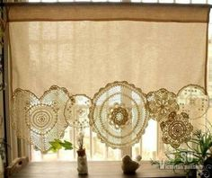 Window Shade from Fabric and Vintage Doilies..... #TextileWaste #Upcycle #Recycle #DIY #GreenLiving #Vintage #Handmade #Craft #DIY #UPcycle #Recycle #Curtains Shabby French Chic, Shabby Chic Français, Cocina Shabby Chic, Shabby Chic Zimmer, Shabby Chic Bedrooms, Shabby Chic Kitchen, Shabby Chic Homes, Shabby Chic Furniture, French Lace