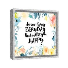 """PTM Images 6-9356 13 Inch x 13 Inch """"Do Happy Everyday"""" Shadowbox ($38) ❤ liked on Polyvore featuring home, home decor, wall art, canvas art, wall decor, white, canvas home decor, white home decor, white canvas wall art and white wall art"""