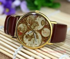 World Map Wrist Watch Mens Wristwatches Unisex Watch by eternalDIY, $2.39