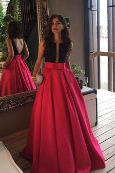 modern black sequins a-line/princess red satin prom dress