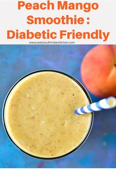 Delicious vegan peach mango smoothie without addition of any sugar or yogurt and with goodness of almond milk and almond butter. Nutritious Smoothies, Yummy Smoothies, Yummy Drinks, Smoothie Recipes, Yummy Food, Smoothie Bowl, Drink Recipes, Peach Mango Smoothie, Mango Recipes