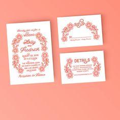c1a38db7111 Printable Wedding Invitation Set - Modern Coral Floral Invite