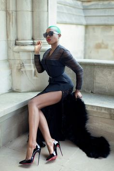 Lace and Slits Thierry Mugler Jacket, Leith dress as a skirt, Louboutins, and a vintage fur Sai Sankoh