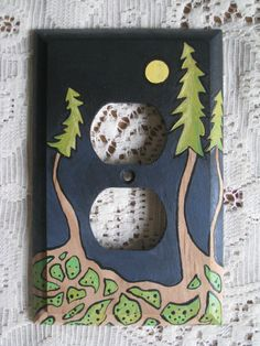 Moonlight Evergreens Green Blue Hand Painted by JodiJeanPainting, $30.00