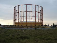 Gasometer; no football - Gasometer at East Ham, and abandoned goalposts. by Kake Pugh, via Flickr East London, Manchester United, Ham, Abandoned, Arch, Industrial, Goals, Places, People