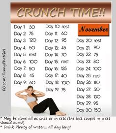 Welcome to NO EXCUSES NOVEMBER!! Tip>>I do these daily challenges in the evening while I'm watching tv... helps prevent snacking too! ;)
