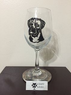 Hand Painted Boxer Wine Glass. 21 oz. Wine Glass This glass is hand painted. This glass is hand wash only. This design is also available on a 19 oz pilsner glass.