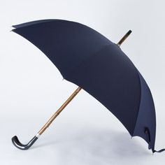 Mario Talarico Horn Umbrella with Navy and Red Dotted Canopy