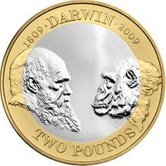 Coin: 2 Pounds (Charles Darwin & The Origin of Species) (United Kingdom of Great Britain & Northern Ireland) - Two Pounds (Commemorative's)) Rare British Coins, Rare Coins, Rare Pennies, Origin Of Species, Theory Of Evolution, All Currency, Coin Design, Charles Darwin, World Coins