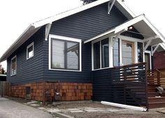 Dark Blue House with cedar shingles - I'm rethinking grey, I feel like everyone has or wants grey now.