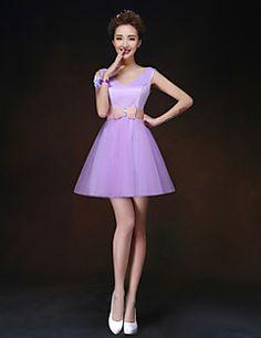 A-Line / cintas princesa mini vestido curto / dama de honra (068)