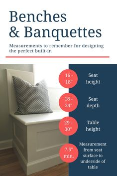 Benches and Banquettes. Measurements to remember for designing the perfect built in. Seat Height, Seat Depth and more. EVERYTHING about Banquette Seating: My Project, Ideas, and Trends for 2018 | The Made Home