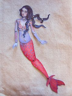 Jointed Mermaid Paper Doll by cynthiathornton on Etsy, $12.00