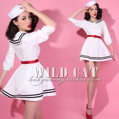 Gender: Women Waistline: Empire Dresses Length: Knee-Length Season: Summer Silhouette: A-Line Neckline: Sailor Collar Sleeve Length: Three Quarter Decoration: None Pattern Type: Solid Sleeve Style: Re