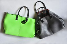 BIBI BAG in Green fluo and Black ecoleather