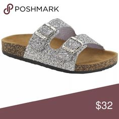 72694a007b7924 Your little girl can get shoes just like Mom! Sparkly silver Birkenstock  style sandals help her little tootsies breathe in comfort.