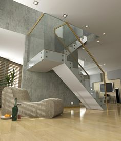 Glas und weiße Treppe gegen eine Betonwand.