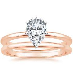 Pear Cut Six-Prong Petite Comfort Fit Wedding Ring Set - 14K Rose Gold