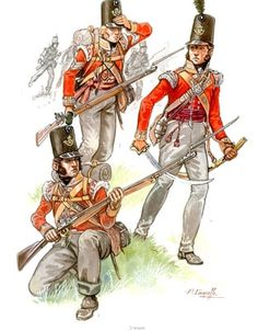 """British """"light"""" infantry, as denoted by the bugle-horn badge on the cap"""