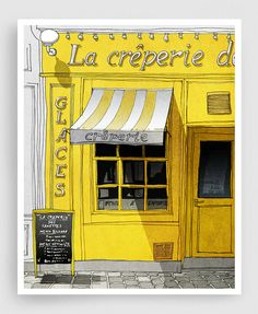 Paris Art Print  La Creperie yellow  Paris Cafe by tubidu on Etsy