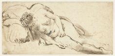Naakte vrouw liggend tegen een kussen, Rembrandt Harmensz. van Rijn, 1661 - 1662
