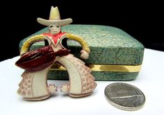 art deco 40s celluloid cowboy hat spurs western figural vintage pin brooch | original clasp | 30s 1930s 1940s early plastic costume jewelry