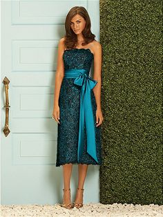 again with the lace in teal and black...this time with a bow, and a longer dress