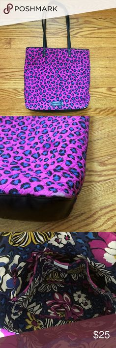 Vera Bradley Leopard African Violet Bag In great, functional condition.  A little bit of wear on the bottom corners as shown in picture. This bag still has a lot of life to give! Vera Bradley Bags Shoulder Bags
