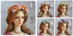 Flower headband bjd - Free size MSD - SD - 70+ by BlueberryStyle on Etsy