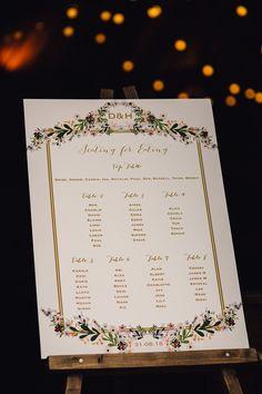 Floral Seating Plan Board - Samuel Docker Photography | Catherine Deane Tamsin Wedding Dress | The Tythe Barn Oxfordshire Wedding | Jenny Yoo Bridesmaid Dresses | Semi Naked Wedding Cake