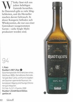 94PUNKTE (höchster Österreicher) - 100%RYE (leider schon so gut wie ausverkauft) Whisky, Jack Daniels Whiskey, Whiskey Bottle, Creme, Drinks, Cereal Recipes, Drinking, Beverages, Drink