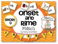 Short Vowels : Short U Short Vowels: Onset and Rime Matching Activity This is a literacy center activity to reinforce reading of short u vowel, CVC words. There are 18 sets of words containing short u that are & up& into onset and rimes, or Short Vowel Games, Short Vowels, Kindergarten Language Arts, Kindergarten Literacy, Language Activities, First Grade Phonics, First Grade Reading, Education And Literacy, Elementary Education