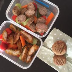 Kids lunch - sausages & salad for Master & Miss 4 1/2 because that's what they wanted! & Leftover Crunchy Baked Chicken& Salad for Miss 12 & Miss 10 .... Also fruit & date biscuits. Biscuits recipe can be found in cookbook CUT OUT THE CRAP LUNCHBOX SOLUTIONS - Chicken recipe can be found in cookbook CUT OUT THE CRAP FOR KIDS  #cutoutthecrap #cutoutthecrapforkids #cutoutthecraplunchboxsolutions #schoolfood #lunch #morningtea #glutenfree #dairyfree #preservativefree #additivefree #yum #dates