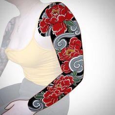 Japanese Peony Tattoo, Japanese Dragon Tattoos, Japanese Tattoo Designs, Dragon Tattoo Back Piece, Dragon Sleeve Tattoos, Tattoo Sleeves, Cover Up Tattoos, Body Art Tattoos, Arabic Tattoos