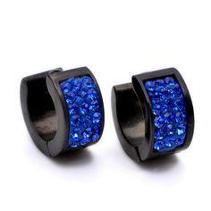 Stainless Steel Blue Crystal Black Studs Hoop Mens Earrings