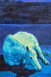 """Daily Painters Abstract Gallery: Colorful Contemporary Horse Art Equine Painting """"Equinox"""" by Contemporary Animal Artist Patricia A. Griffin"""