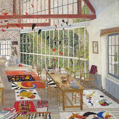 "Damian Elwes... ""Calder's Studio,"" gouache on board, 19 x 19 in, 2015"