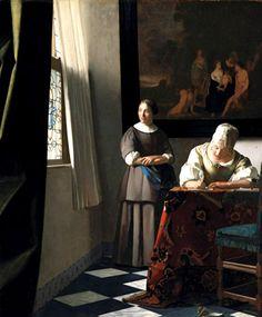 """Johannes Vermeer  """"Mujer escribiendo una carta con su criada"""""""