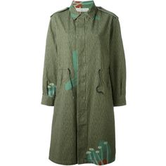 Golden Goose Deluxe Brand 'Iris' parka (52.695 RUB) ❤ liked on Polyvore featuring outerwear, coats, green, floral print coat, green parka, long coat, cotton parka and print coat
