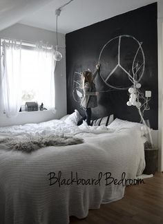 chalkboard paint wall in bedroom (doesn't have to be black) - you could use colored chalk and change the design whenever you wanted to...