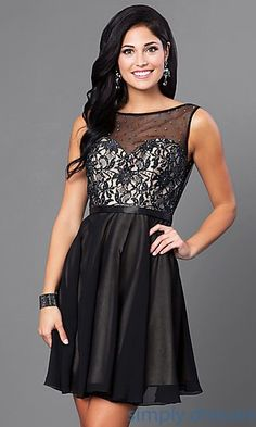 3cf78aeb927 A-Line Short Dress with Lace and Bead Embellished Bodice. Plus Size Formal  DressesShort ...