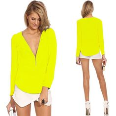 Sexy Zipper V-neck Pure Color Long Sleeve Chiffon Shirt