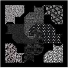 FOUR BLACK CATS AND FRIENDS QUILT pattern Try black, navy,green, multi, etc