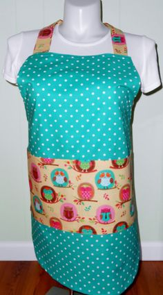 25% off Sale Code THANKS25 Polka Dot  Apron with Owl pockets, Handmade apron, Women's Aprons, Size medium with 4 pockets, 2 small & 2 larger by beckyspillowshop. Explore more products on http://beckyspillowshop.etsy.com