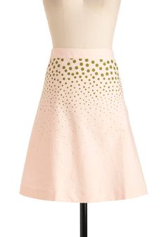 Gladiolus to Meet You Skirt - Mid-length, Casual, Vintage Inspired, Pink, Green, Polka Dots, A-line, Spring