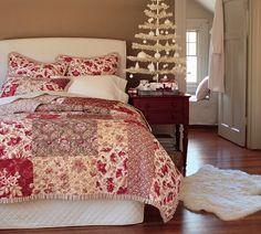 DIY headboard idea.  Love the calm of this Christmas bedroom.