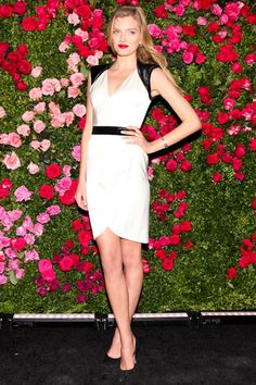 Lily Donaldson in Chanel dress Love the backdrop!